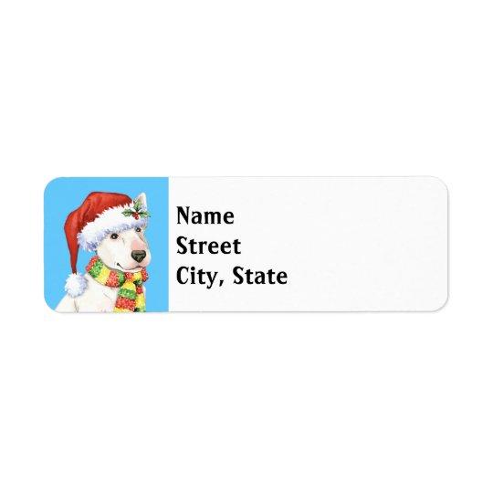 Happy Howlidays Bull Terrier Return Address Label
