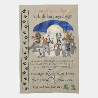 Happy Howlidays Cartoon Dogs Holiday Quotes Tea Towel