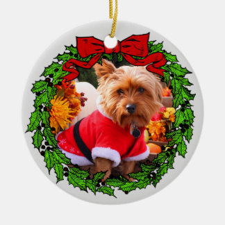 Happy Howlidays Custom Pet Photo Ceramic Ornament