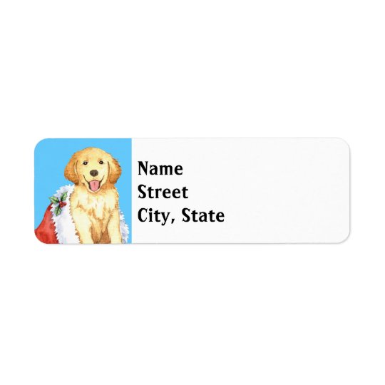 Happy Howlidays Golden Retriever Return Address Label