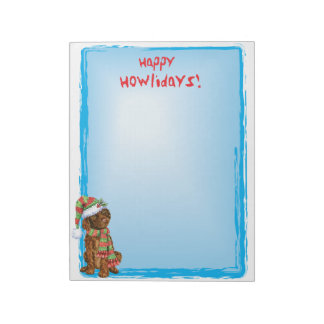 Happy Howlidays Irish Water Spaniel Notepads