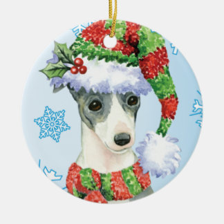 Happy Howlidays Italian Greyhound Round Ceramic Decoration