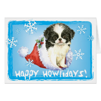 Happy Howlidays Japanese Chin Card