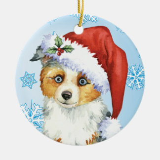 Happy Howlidays Mini American Shepherd Ceramic Ornament
