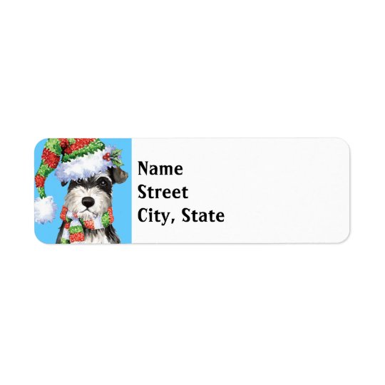 Happy Howlidays Miniature Schnauzer Return Address Label