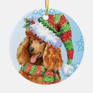Happy Howlidays Poodle Ceramic Ornament
