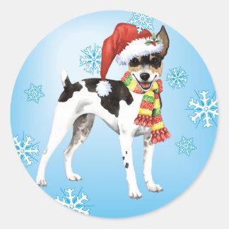 Happy Howlidays Rat Terrier Classic Round Sticker