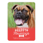 Happy Howlidays Red Christmas Dog Photo Card 13 Cm X 18 Cm Invitation Card