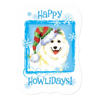 Happy Howlidays Samoyed 13 Cm X 18 Cm Invitation Card