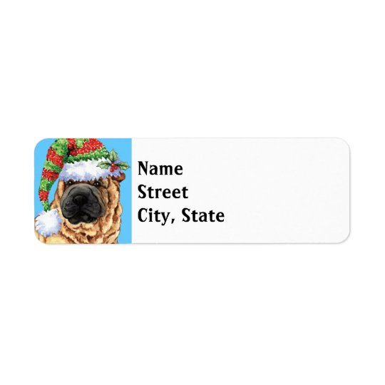 Happy Howlidays Shar-Pei Return Address Label