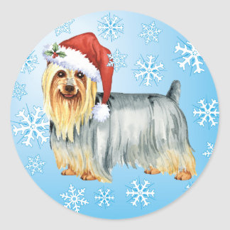 Happy Howlidays Silky Terrier Classic Round Sticker