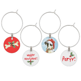 Happy Howlidays Smooth Fox Terrier Wine Charm