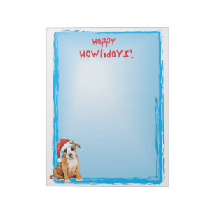 Happy Howlidays Staffordshire Bull Terrier Notepad