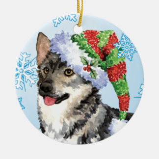 Happy Howlidays Swedish Vallhund Ceramic Ornament