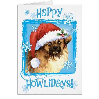 Happy Howlidays Tibetan Spaniel Card