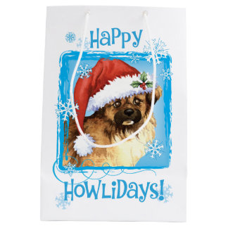 Happy Howlidays Tibetan Spaniel Medium Gift Bag