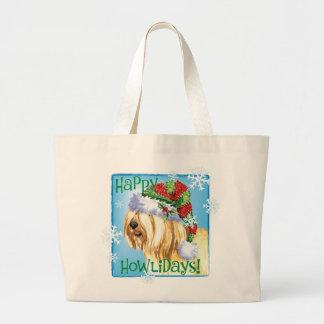 Happy Howlidays Tibetan Terrier Large Tote Bag