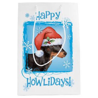 Happy Howlidays Toy Manchester Terrier Medium Gift Bag