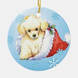 Happy Howlidays Toy Poodle Ceramic Ornament