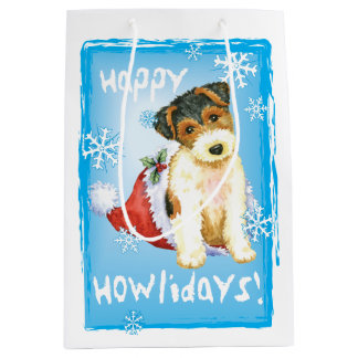 Happy Howlidays Wire Fox Terrier Medium Gift Bag
