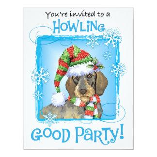 Happy Howlidays Wirehaired Dachshund 11 Cm X 14 Cm Invitation Card