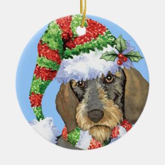 Happy Howlidays Wirehaired Dachshund Ceramic Ornament
