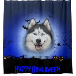 Happy Howloween Husky Shower Curtain