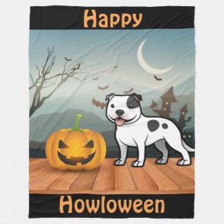 Happy Howloween Staffordshire Bull Terrier Fleece Blanket