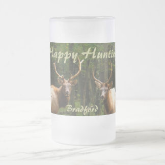 """Happy Hunting Elk Beer Stein """"your Name"""" Frosted Glass Mug"""