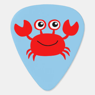 Happy illustrated red crab guitar pick