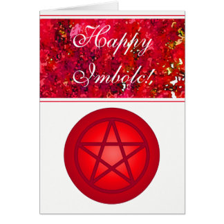 Happy Imbolc Red Pentacle Card