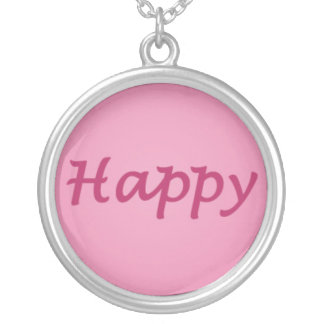 Happy in Pink Text Round Pendant Necklace
