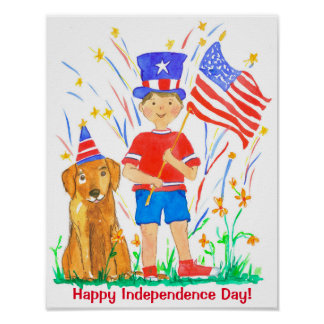Happy Independence Day Boy Dog Poster