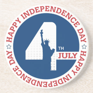 Happy Independence day liberty statue silhouette Coaster