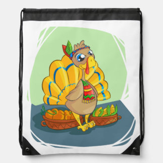Happy Indian Turkey ready for thanksgiving Drawstring Bag