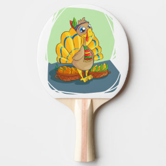 Happy Indian Turkey ready for thanksgiving Ping Pong Paddle