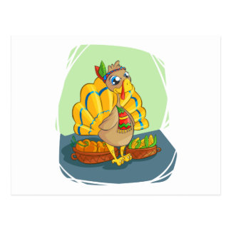 Happy Indian Turkey ready for thanksgiving Postcard