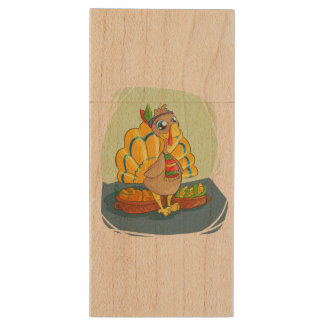 Happy Indian Turkey ready for thanksgiving Wood USB 2.0 Flash Drive
