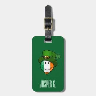 Happy irish Flag Smiley Wearing a Leprechaun Hat Luggage Tag