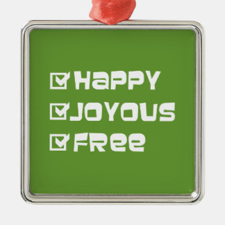 Happy Joyous Free Silver-Colored Square Decoration