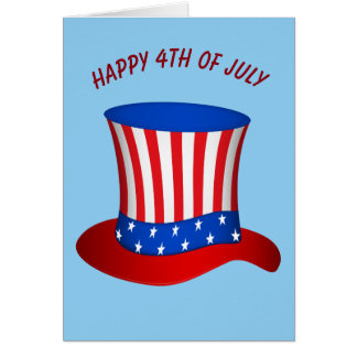 Happy July 4th American Flag hat Greeting Card