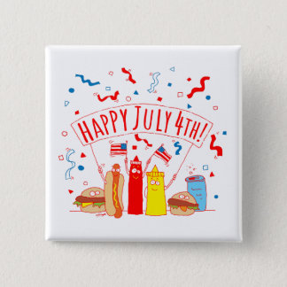 Happy July 4th Picnic 15 Cm Square Badge