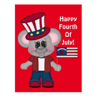 Happy July Fourth Mouse postcard