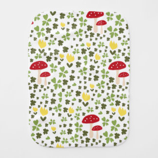 Happy jump meadow with flowers and lucky clovers baby burp cloths