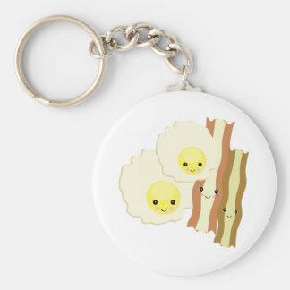 happy kawaii  breakfast basic round button key ring