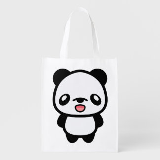 Happy Kawaii Panda Reusable Grocery Bag