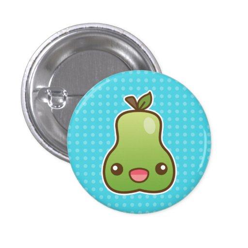 Happy Kawaii Pear Button
