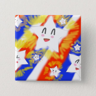 Happy Kawaii Star 4th of July Button