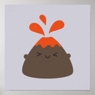 Happy Kawaii Volcano Poster