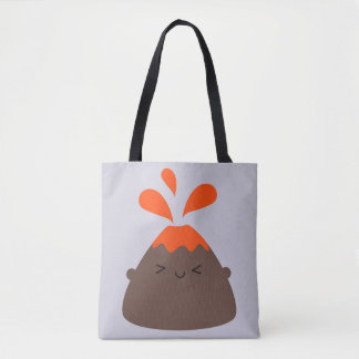 Happy Kawaii Volcano Tote Bag